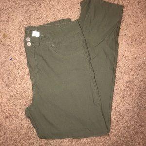 Plus size green khaki pants